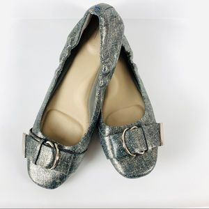 Tahari blue and Silver Andes Flats Size 9M